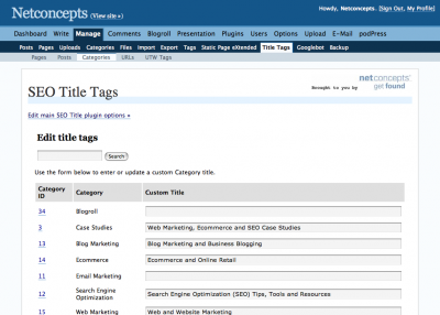Mass edit title tags of category pages