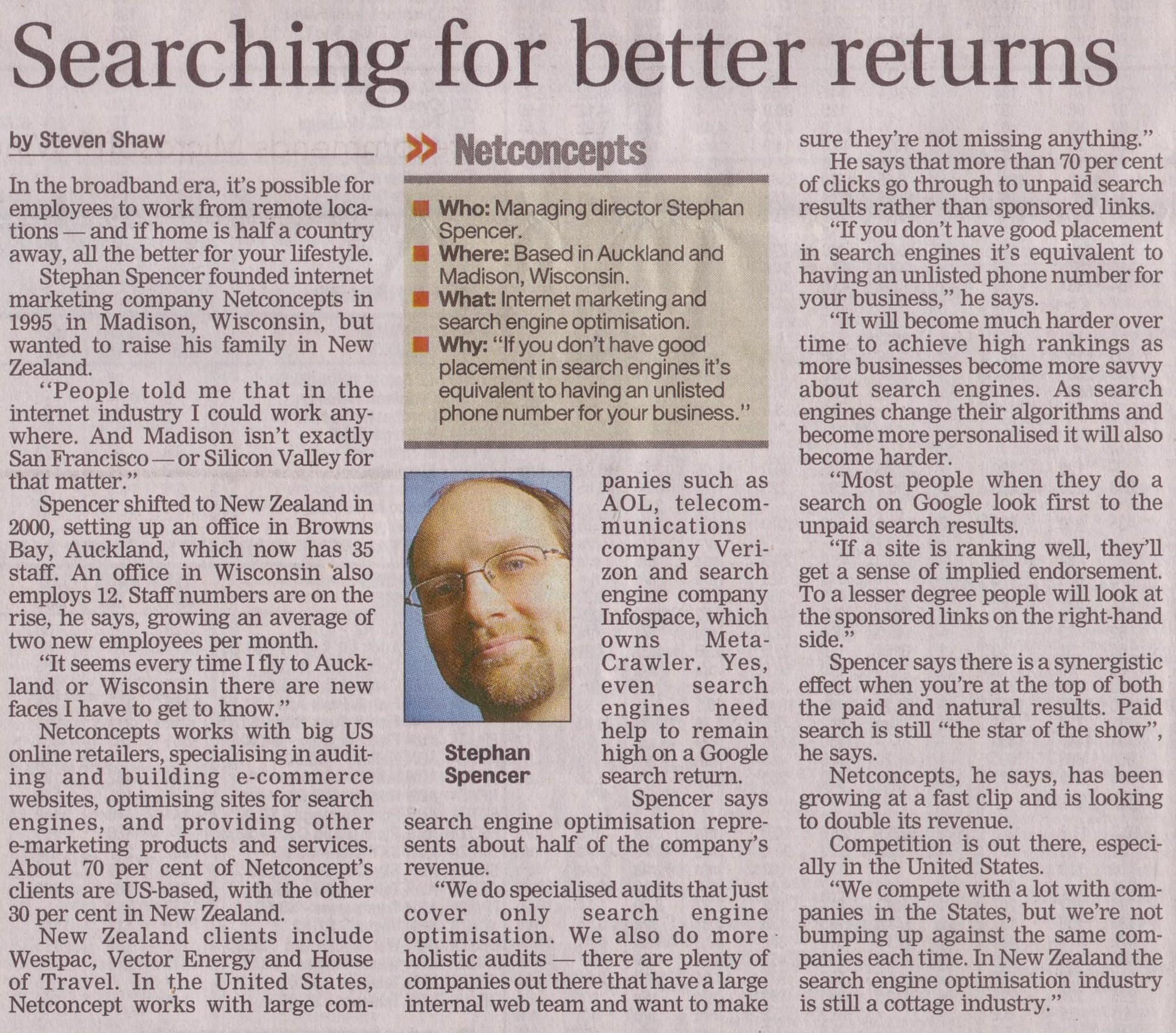 Netconcepts, profile; NZ Herald, 15 Nov 05